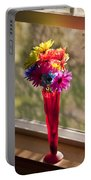 Multicolored Daisies On Window Sill Portable Battery Charger