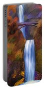 Multnomah Falls In Autumn Portable Battery Charger