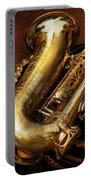 Music - Brass - Saxophone  Portable Battery Charger by Mike Savad