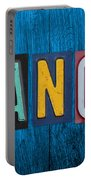 My Fancave License Plate Letter Vintage Phrase Artwork On Blue Wood Portable Battery Charger