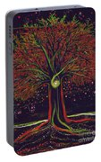 Mystic Spiral Tree Red By Jrr Portable Battery Charger