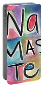 Namaste Watercolor Portable Battery Charger by Linda Woods