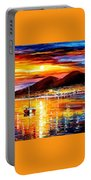 Naples-sunset Above Vesuvius - Palette Knife Oil Painting On Canvas By Leonid Afremov Portable Battery Charger