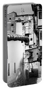 Narrow Streets Of Albarracin  Black And White Portable Battery Charger