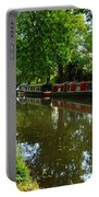 Narrowboats Moored On The Wey Navigation In Surrey Portable Battery Charger