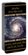 Nasa Whirlpool Galaxy Heaven Bless The Lord Praise And Exalt Him Above All Forever Portable Battery Charger by Rose Santuci-Sofranko