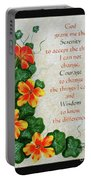 Nasturtiums And Serenity Prayer Portable Battery Charger