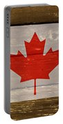 Canada National Flag On Wood Portable Battery Charger