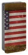 United States Of America National Flag On Wood Portable Battery Charger