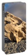 Naturally Sculpted Waterworn Wood On Pebble Beach Portable Battery Charger