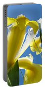 Nature Art Prints Yellow White Irises Flowers Portable Battery Charger