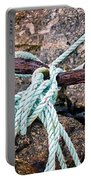 Nautical Lines And Rusty Chains Portable Battery Charger