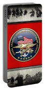Naval Special Warfare Development Group - D E V G R U - Emblem Over Navy S E A Ls Collage Portable Battery Charger