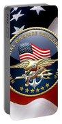 Naval Special Warfare Development Group - D E V G R U - Emblem Over U. S. Flag Portable Battery Charger