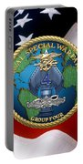 Naval Special Warfare Group Four - N S W G-4 - Over U. S. Flag Portable Battery Charger