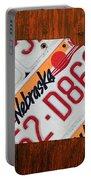 Nebraska License Plate Map Art Portable Battery Charger