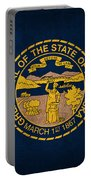 Nebraska State Flag Art On Worn Canvas Portable Battery Charger