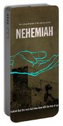 Nehemiah Books Of The Bible Series Old Testament Minimal Poster Art Number 16 Portable Battery Charger by Design Turnpike