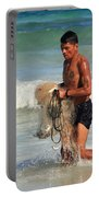 Net Fisherman In Tulum Portable Battery Charger