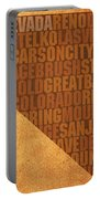 Nevada Word Art State Map On Canvas Portable Battery Charger