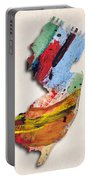 New Jersey Map Art - Painted Map Of New Jersey Portable Battery Charger