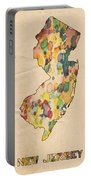 New Jersey Map Vintage Watercolor Portable Battery Charger
