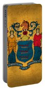 New Jersey State Flag Art On Worn Canvas Portable Battery Charger