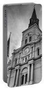 New Orleans St Louis Cathedral Bw Portable Battery Charger