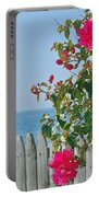 New Photographic Art Print For Sale On The Fence Montecito Bougainvillea Overlooking The Pacific Portable Battery Charger