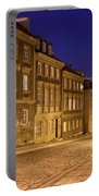 New Town Street And Houses At Night In Warsaw Portable Battery Charger