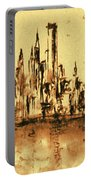 New York City Skyline 79 - Water Color Panorama Portable Battery Charger