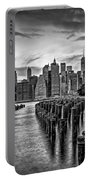New York City Skyline Sunset Hues Bw Portable Battery Charger