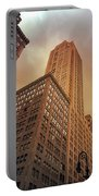 New York City - Skyscraper And Storm Clouds Portable Battery Charger