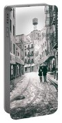 New York City - Snow On A Winter Afternoon - Chinatown Portable Battery Charger by Vivienne Gucwa
