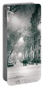 New York City - Winter Night In The West Village Portable Battery Charger