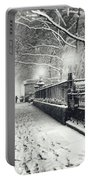 New York City - Winter - Snow At Night Portable Battery Charger