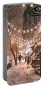 New York City - Winter Snow Scene - East Village Portable Battery Charger by Vivienne Gucwa
