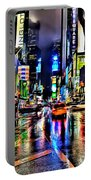 New York Lights In Rain Portable Battery Charger
