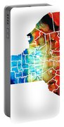 New York - Map By Sharon Cummings Portable Battery Charger