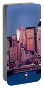 New York Skyline At Dusk Portable Battery Charger