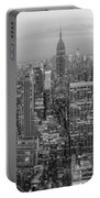 New York Skyline Panorama Bw Portable Battery Charger