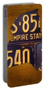 New York State License Plate Map - Empire State Orange Edition Portable Battery Charger