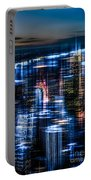 New York - The Night Awakes - Blue I Portable Battery Charger