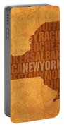 New York Word Art State Map On Canvas Portable Battery Charger