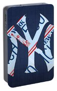 New York Yankees Baseball Team Vintage Logo Recycled Ny License Plate Art Portable Battery Charger