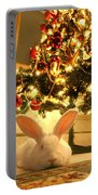 New Zealand White Rabbit Under The Christmas Tree Portable Battery Charger