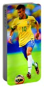Neymar Soccer Football Art Portrait Painting Portable Battery Charger