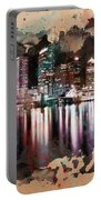 Night City Reflections Watercolor Painting Portable Battery Charger