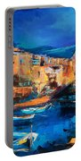 Night Colors Over Riomaggiore - Cinque Terre Portable Battery Charger by Elise Palmigiani