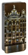 Night Time In Grand Place Portable Battery Charger